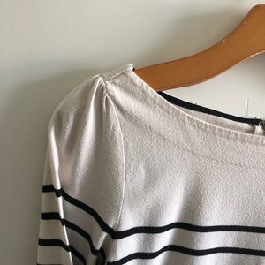 LOFT Breton Inspired Striped Cream & Black Top